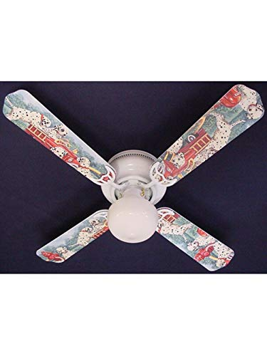 (Dalmatian Puppies Fire truck Print Blades 42in Ceiling Fan Light Kit by Aromzen)