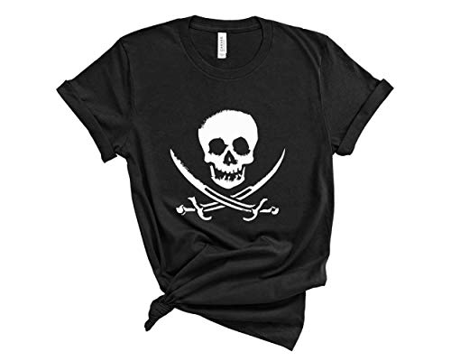 Blue Sand Textiles Pirate Shirt. Skull T-Shirt. Soft & Comfy Unisex Pirate Tee. Gasparilla Shirt. (Black, X-Large)