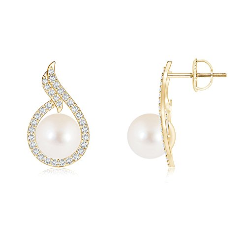 Freshwater Cultured Pearl Earrings with Diamond Swirl Frame in 14K Yellow Gold (8mm Freshwater Cultured Pearl) ()