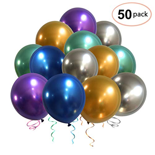 Party Balloons, Nesus 50pcs 12 Inch Metallic Colorful Thicker Latex Balloons for Wedding Birthday Decorations