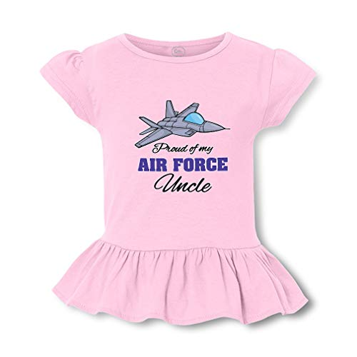 Proud of My Air Force Uncle Short Sleeve Toddler Cotton Girly T-Shirt Tee - Soft Pink, X Small Air Force Toddler T-shirt