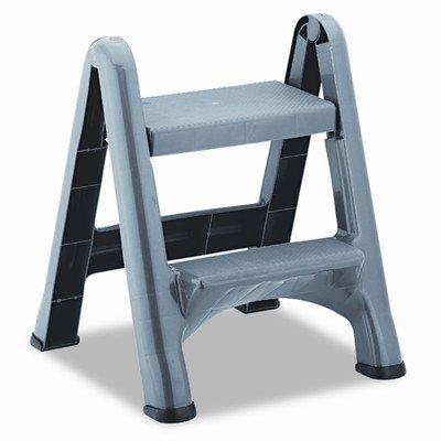 Black Step Cylinder - Rubbermaid 4209 EZ Step Folding Stool, 2-Step, Metallic Cylinder