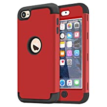 Dailylux iPod Touch 5 Case,iPod Touch 6 Case, 3in1 Hybrid Full Body Impact Resistant Shockproof PC Silicone Protective Cover for iPod Touch 5th 6th Generation-Red+Black