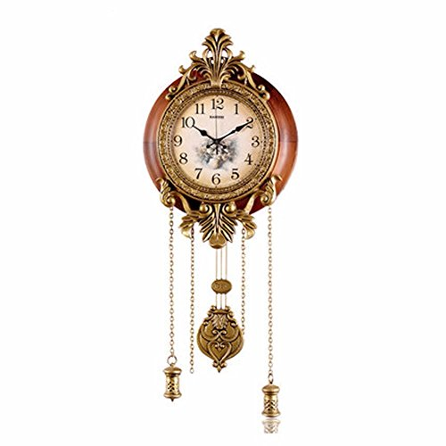 OLQMY-Luxury home decoration European-style wall clock, living room solid wood clock, mute creative pendulum clock, simple palace wall clock,,14 inch by OLQMY