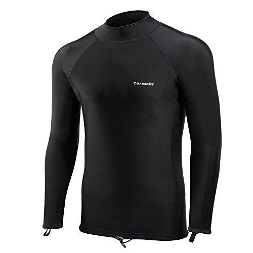 (Coreskin Men's Long Sleeve Lycra + Fleece 3 Layer Shirt, Black, Large)