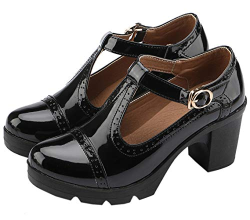 DADAWEN Women's Classic T-Strap Platform Mid-Heel Square Toe Oxfords Dress Shoes Black US Size 9 ()