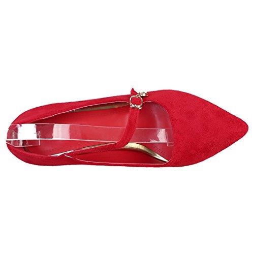AIYOUMEI Damen Wildleder Stiletto Mittlere Ferse Absatz Pumps mit Blumen und Strass Modern Schuhe Rot