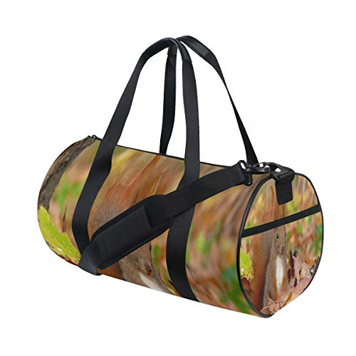 Duffel Bag Autumn Leaf Tail Fluffy Red Cute Squirrel Women Garment Gym Tote Bag Best Sports Bag for Boys