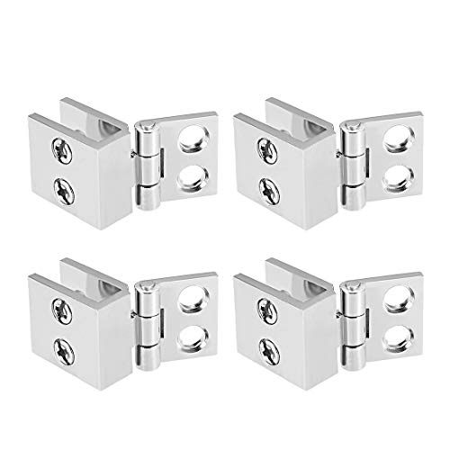 (uxcell Glass Door Hinge - 0 Degree Cupboard Showcase Cabinet Door Hinge Glass Clamp,Zinc Alloy, for 5-8mm Glass Thickness 4Pcs)