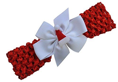 Mrs Claus Crochet - Baby Girl Felt Santa Hat Crochet Baby Headband (Red Band with White Bow)