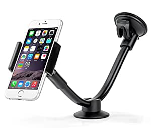 AboveTEK Long Arm Universal Car Phone Mount Holder - Windshield / Dashboard Smartphone Cradle with Two Clamps, Easily Fits iPhone 5/6/6S Plus, Samsung, iPad Tablet (3.5-8 inch) - Secure Suction Cup