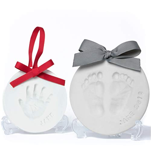 Baby Leon Footprint Ornament Kit | White + Gray Clay Molds & Paint Set | Best Baby Shower Gift for Newborn Girls & Boys | New Mom Gift Registry | -