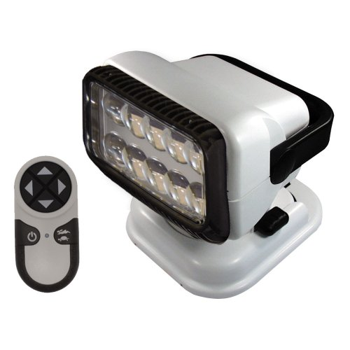 GoLight RadioRay LED Portable Searchlight with Wireless Remote, Suction Cup and Permanent Shoe Mounts, White