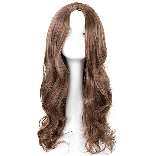 Cosplay Wig Synthetic Long Curly Middle Part Line Blonde Women Hair Costume Carnival Halloween Party Salon Hairpiece,1B/30HL,26inches