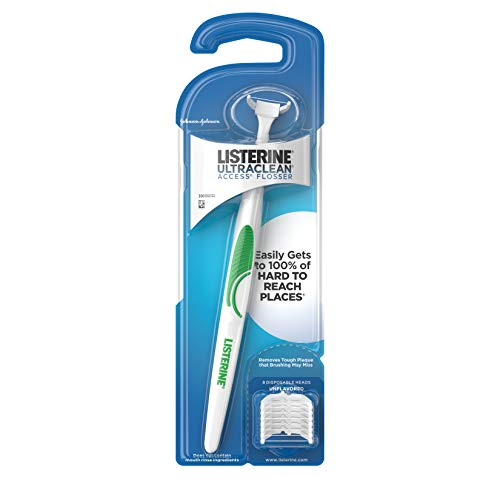 (Listerine Ultraclean Access Flosser + 8 Refill Dental Flosser Heads, Oral Care and Hygiene (Pack of 6))