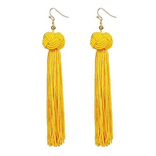 Handmade Tassel Earrings Black Red Yellow Green Long Dangles Ear Broncos Silk Fringed Jeweller for $<!--$15.88-->