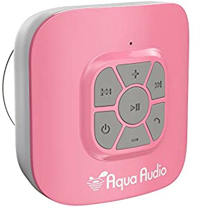 AquaAudio Cubo – Portable Waterproof Bluetooth Speaker with Suction Cup for Showers, Car, etc. - Pairs with All Bluetooth Devices + Siri Compatible - 10 hours Playtime/ Built-in Mic (Pink)