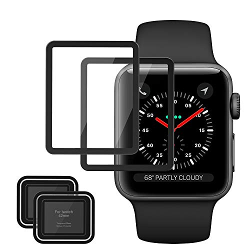 MoKo Tempered Glass Screen Protector Fit Apple Watch 42mm, [2-Pack] Premium HD Clear Shield Cover Anti-Scratch Film Fit iWatch 42mm Series 1/2 / 3 2017, Black (Not Fit Apple Watch 38mm)