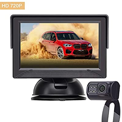 Yakry Backup Camera System 4.3 '' Monitor for Truck / Car / Pickup / Camper / SUV IP69K Waterproof Rear View / Front View Camera Connecting Single Power Reversing / Driving Use Night Vision: Car Electronics