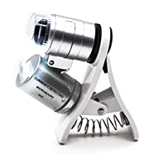 PROW 60X Zoom LED Clip-On Micro Lens Microscope Magnifier Loupe for 60X Zoom LED Clip-On Microscope Magnifier Micro Lens with Universal Clamp for SmartPhones iPhone Samsung HTC Sony and Tablets