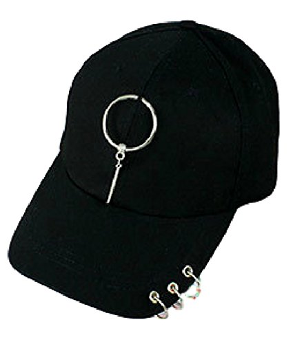 P-LINK Metal Fashion Punk Cap Cool Baseball Ball Cap Cadet Hat Iron Ring Casual Hip Hop Packs Plus Series Hardcover Camping Survival Belt Loop Paperback Audible Complete Replacement (Circle:Black)