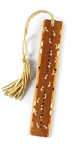 Journey Quote with Footprints Engraved Wooden Bookmark on Sapele with Gold Tassel ()