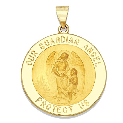 Angel 14k Medal (Genuine 14K Yellow Gold Round Guardian Angel Medal (1 inch))
