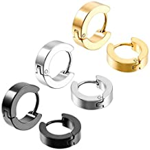 MOWOM Silver Gold Two Tone Black Stainless Steel Hoop Huggie Earrings Cross Triangle Awl Taper Rivets ( 3 Pairs )