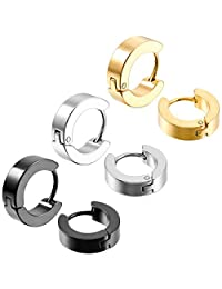 MOWOM Silver Gold Two Tone Black Stainless Steel Hoop Huggie Earrings Cross Triangle Awl Taper Rivets (3 Pairs)