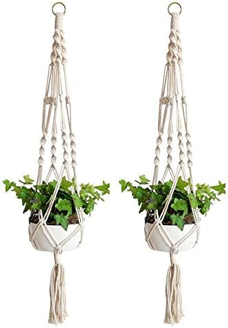 Wozaba Plant Hanger, Indoor Outdoor Hanging Planter Basket Cotton Planter Holder Round Square Pots 41 inch, 2 Set, White