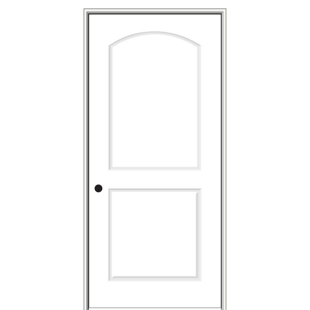 "National Door Company ZZ364270R Solid Core, Primed, Molded 2-Panel Archtop, Right Hand, Prehung Interior Door, 20""x80"""