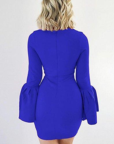 Jaycargogo 1 Women's Bodycon Dress Fit Party Ruffer Sleeve Slim rxr8qdR
