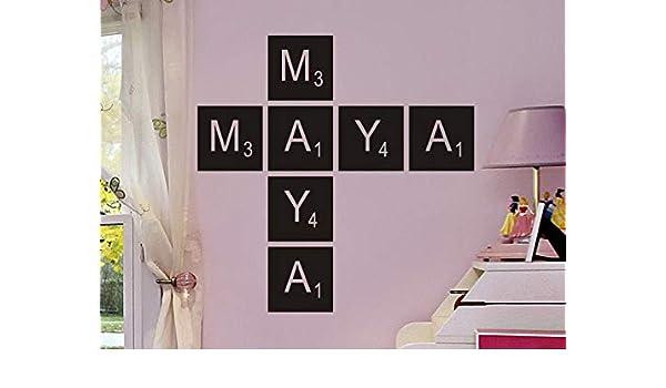 Adhesivos decorativos para pared con letras de Scrabble, multicolor, 32