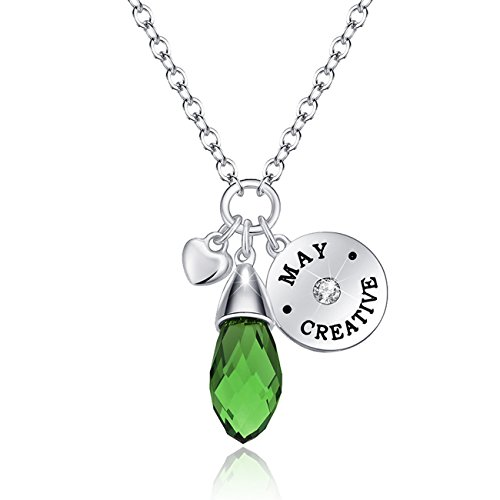 KIM S Simulated Emerald Birthstone Necklace Teardrop Pendant Elements Crystal May Birthday Gifts for Wife Girlfriend Women Girls for Her Jewelry Gifts for ()
