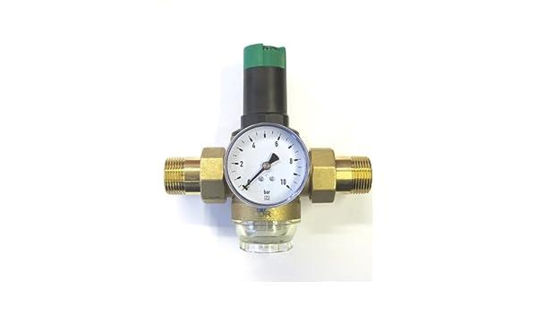 Honeywell Braukmann D06 F - Válvula reductora de 1/2 pulgadas + manómetro Reductor de presión: Amazon.es: Jardín