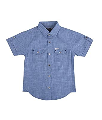 c06653d6 Terry Fator Kids Shirt, Boys Casual Shirt, Boys Party Shirt Boy's Casual  Solid Cotton Short Sleeve Shirt - Blue: Amazon.in: Clothing & Accessories