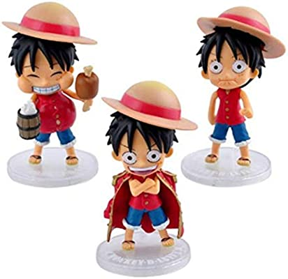 10cm 3pcs Lot Monkey D Luffy Kawaii Action Figure Model Toy