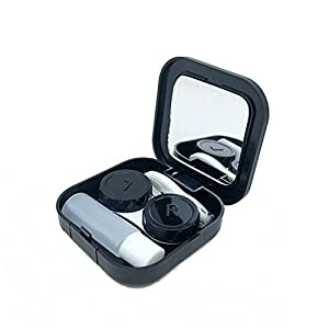 Potato001 Portable Contact Lens Case Container Travel Kit Set Storage Holder Mirror Box (Black)