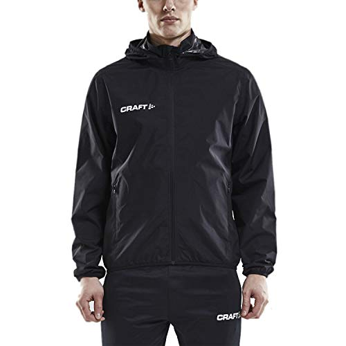 Craft Men's Waterproof Rain Jacket - Light Windbreaker with Hood Raincoat for Men Black ()
