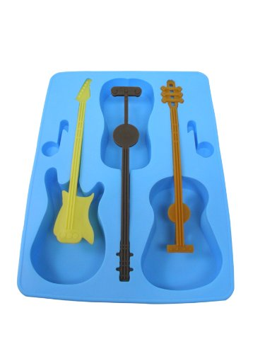 Fairly Odd Novelties FON-10023 Acoustic/Electric Guitar Ice Cube Tray Mold with Stirrers Novelty Gag Gift, Blue ()