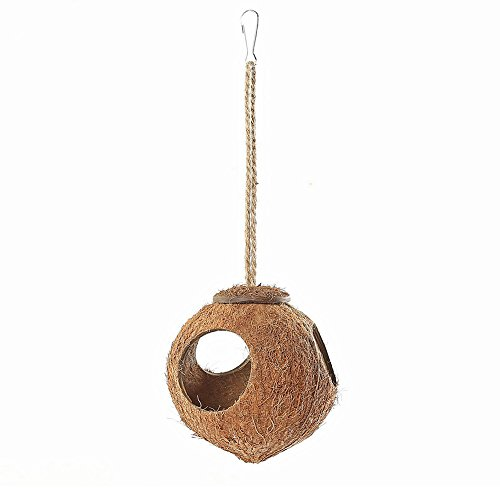 Niteangel Natural Coconut Shell Bird House, Small Animal Cave Toy, Three Holes (Natural Surface)