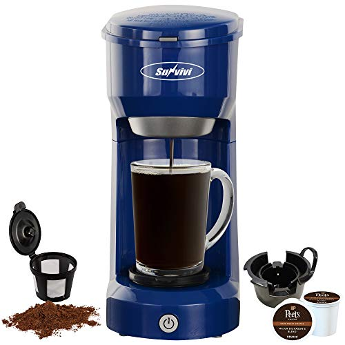 Single Serve Coffee Maker Brewer for K-Cup and Ground Coffee, Coffeemaker With Permanent Filter, 6oz to 14oz Mug, One-touch Control Button(Blue)