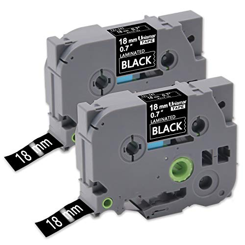 Tz Tape White on Black, P-touch Laminated Label Tape Tze-345 Tz345 Compatible for Brother PT-P900W PT-P950NW PTD400AD PT-P700 PTD600 PT-1890C PTD600VP, 3/4Inch(18mm) x 26.2Feet(8m) 2-Pack