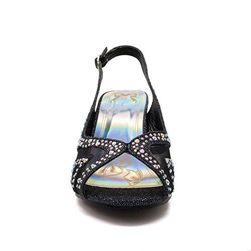 New Womens Low Mid Kitten Heel Diamante Sandals Ladies Bridal Wedding Shoes Size UK 3-8 Black k9Q4XT06