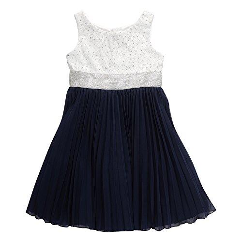 Emily West Girls' Big Sleeveless Crochet Lace to Chiffon Accordian Dress, Navy/White 16