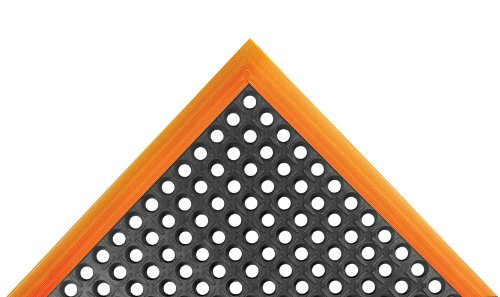 "NoTrax Rubber 549 Safety Stance Anti-Fatigue Drainage Mat, for Wet Areas, 26"" Width x 40"" Length x 7/8"" Thickness, Black / Orange"