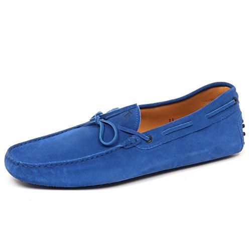 Tods E2992 Mocassino Uomo Bluette Scarpe Suede Loafer Shoe Man Bluette