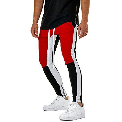 Serrage Deelin Block Casual Hommes Cordon Pantalon Pant Fitness Sport Legging Lâche De Pantalons Rouge Color Jogging Élasticité OpUSOqx