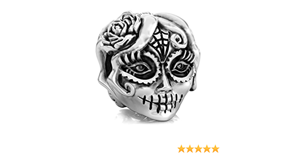 Mask Catcher  with Black and Skull Beads Silver