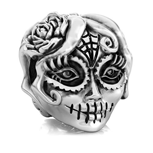 (Authentic BELLA FASCINI Sugar Skull Girl Bead Charm - Dia de los Muertos - 925 Silver - Fits)